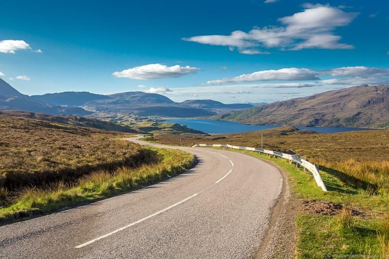 a Scottish road on a sunny day