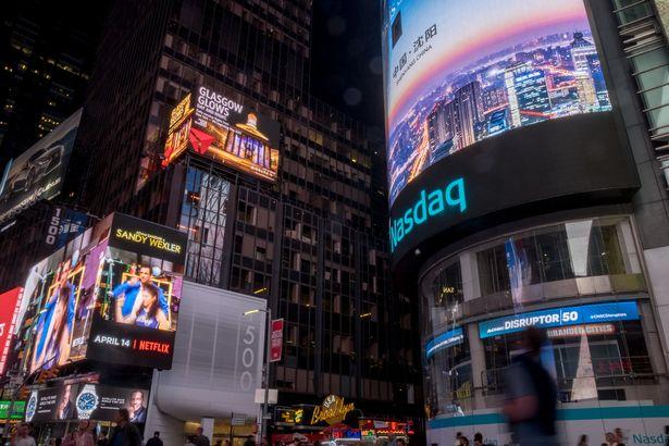 Glasgow billboard in Times Square