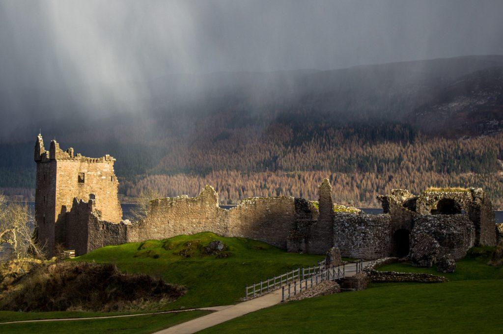 Castle ruin on Loch ness in scotland
