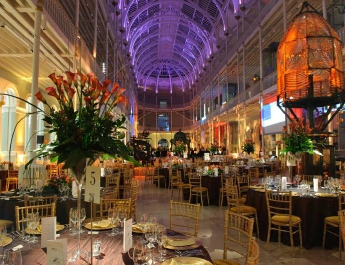 inside the National Museum of Scotland set up for a formal dinner event