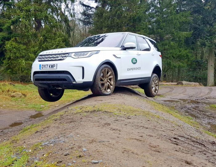 A Land Rover in a forest